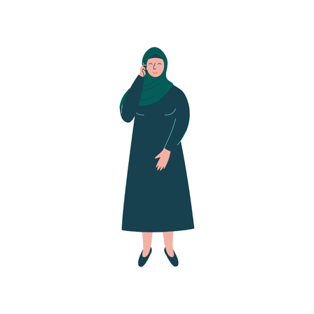 Muslim Woman in Hijab Talking on Phone, Modern Arab Girl Character in Traditional Clothing Vector Illustration