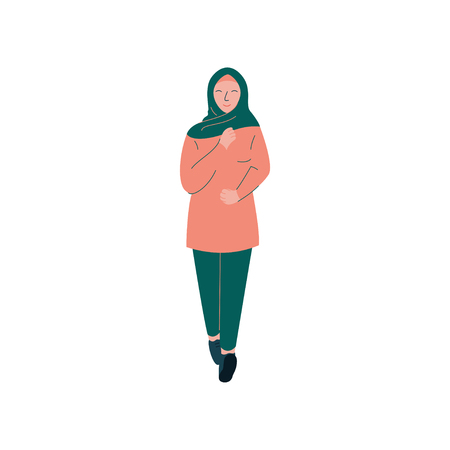 Cheerful Muslim Woman in Hijab, Modern Arab Girl Character in Modern Clothing Vector Illustration Standard-Bild - 117960717