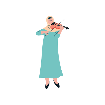 Muslim Woman in Hijab Playing Violin, Female Arab Musician Character in Traditional Clothing Vector Illustration