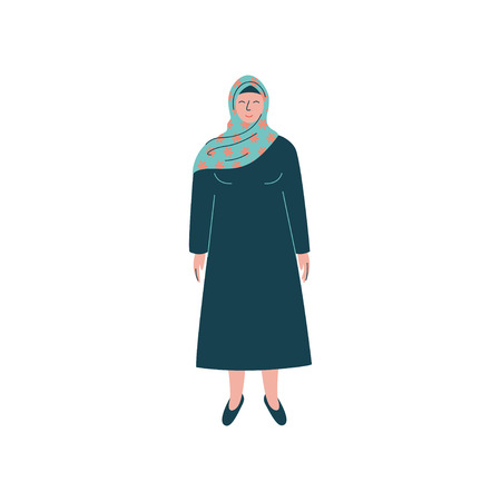 Muslim Woman in Hijab, Modern Arab Girl Character in Traditional Clothing Vector Illustration