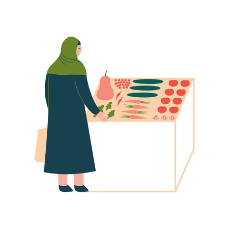 Muslim Woman in Hijab Buying Vegetables, Modern Arab Girl Character in Traditional Clothing Standing Near Market Stall, Side View Vector Illustration Illustration