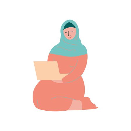 Muslim Woman in Hijab Working with Laptop Computer, Modern Arab Girl Character in Traditional Clothing Vector Illustration
