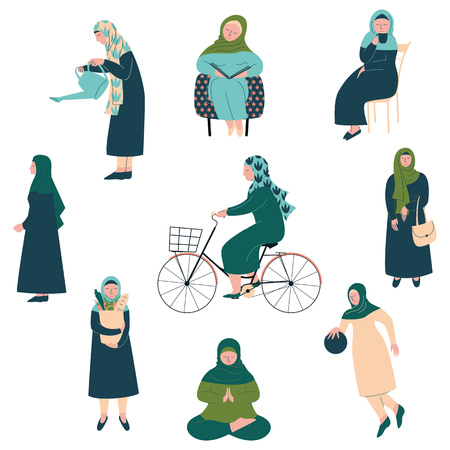 Muslim Woman in Hijab Set, Modern Arab Girls Characters in Traditional Clothing in Different Situations Vector Illustration
