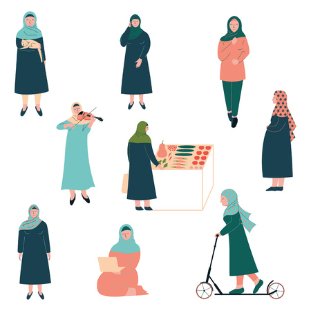 Muslim Woman Lifestyle Set, Modern Arab Girls Characters in Traditional Clothing in Different Situations Vector Illustration
