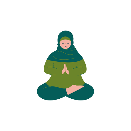 Muslim Woman in Hijab Sitting with Crossed Feet and Praying, Modern Arab Girl Character in Traditional Clothing Vector Illustration Illustration
