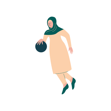 Muslim Woman in Hijab Playing with Ball, Arab Sportswoman Character in Traditional Clothing Vector Illustration