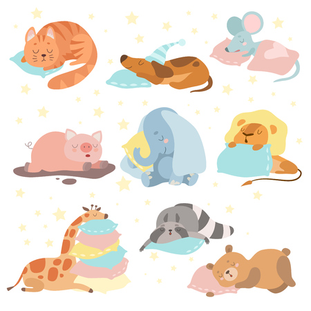 Cute Animals Sleeping Set, Cat, Dog, Mouse, Pig, Elephant, Lion, Giraffe, Raccoon, Bear Lying on Pillows Vector Illustration on White Background Ilustração