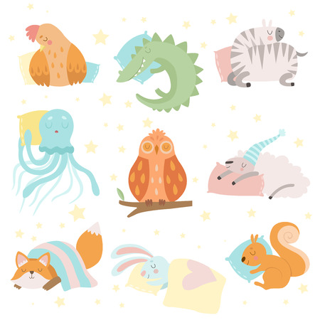 Cute Animals Sleeping Set, Hen, Zebra, Crocodile, Octopus, Sheep, Squirrel, Fox, Bunny Owl with Pillows Vector Illustration on White Background
