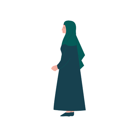 Muslim Woman Character in Traditional Clothing, Side View Vector Illustration  イラスト・ベクター素材