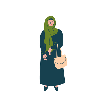 Muslim Woman in Hijab Standing with Bag, Modern Arab Girl Character in Traditional Clothing Vector Illustration  イラスト・ベクター素材
