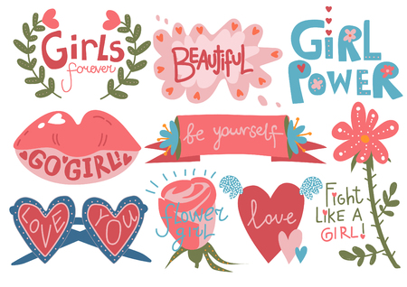 Collection of Girlish Pretty Design Elements with Inspirational Quotes Can Be Used For Greeting Cards, Badges, Labels, Invitations, Banners Vector Illustration
