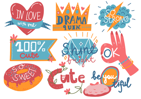 Collection of Trendy Girlish Prints, Design Elements with Inspirational Quotes Can Be Used For Greeting Cards, Badges, Labels, Invitations, Banners Vector Illustration