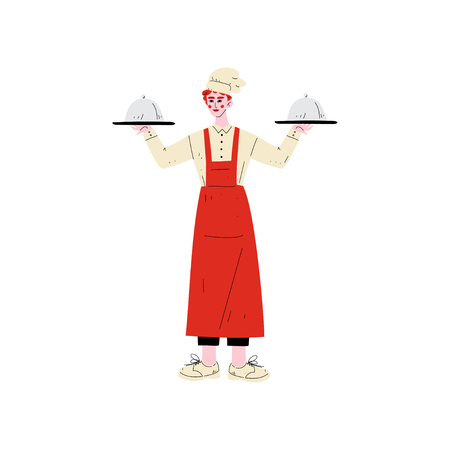 Male Chef Holding Platter Cloches, Hotel Staff Character in Uniform Vector Illustration on White Background.