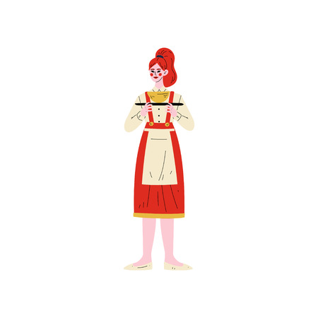 Waitress Standing with Tray, Hotel Staff Character in Red Uniform Vector Illustration on White Background. 일러스트
