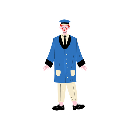 Male Doorman Hotel Staff Character Meeting Guests Vector Illustration on White Background.