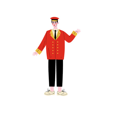 Male Doorman Meeting Guests, Male Doorman Hotel Staff Character in Red Uniform Vector Illustration on White Background. Illustration