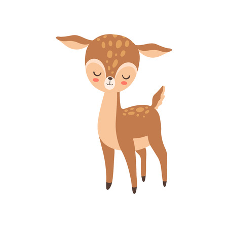 Cute Baby Deer Standing with Closed Eyes, Adorable Forest Fawn Animal Vector Illustration on White Background. Reklamní fotografie - 124779007