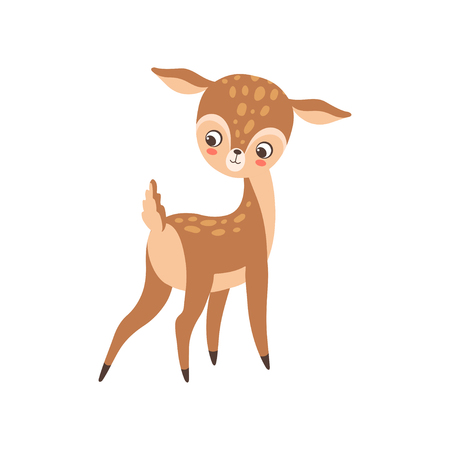 Cute Baby Deer, Adorable Sweet Forest Fawn Animal Vector Illustration on White Background.