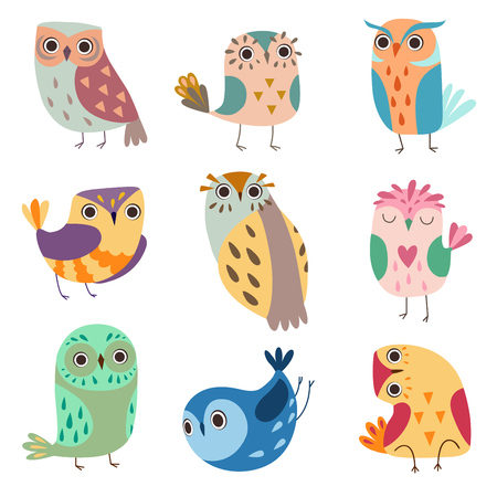 Collection of Cute Owlets, Colorful Adorable Owl Birds Vector Illustration on White Background.