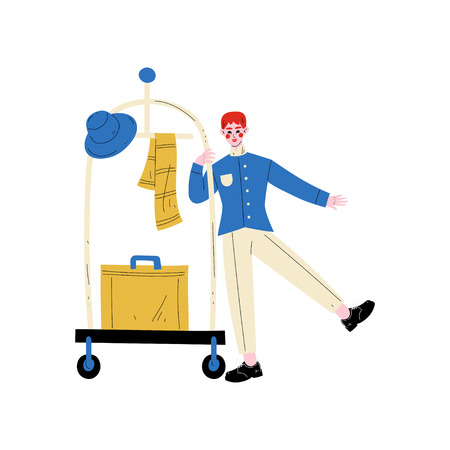 Bellhop, Bellboy or Bellman with Luggage Cart with Suitcase, Hotel Staff Character in Blue Uniform Vector Illustration on White Background.