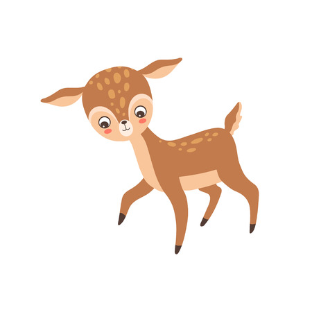 Lovely Baby Deer, Adorable Forest Fawn Animal Vector Illustration on White Background.
