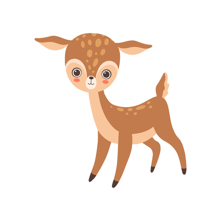 Cute Baby Deer, Lovely Forest Fawn Animal Vector Illustration on White Background.