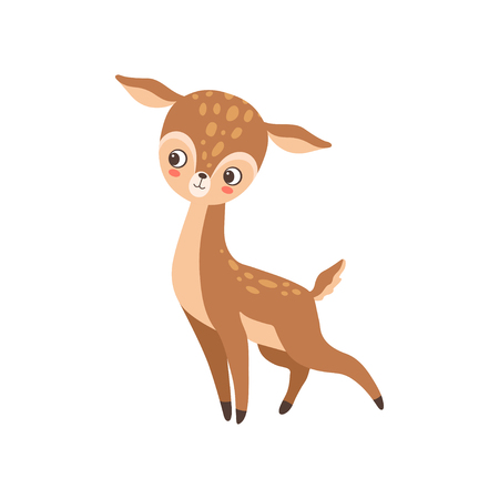 Cute Baby Deer Forest Fawn Animal Vector Illustration on White Background.