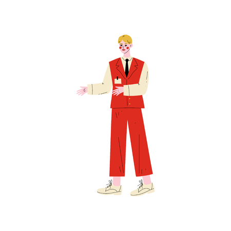 Male Hotel Manager, Administrator, Hotel Staff Character in Red Uniform Vector Illustration on White Background. Archivio Fotografico - 124779017