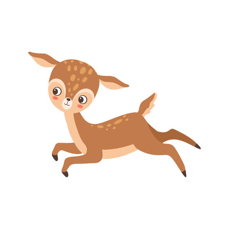 Cute Baby Deer Happily Jumping, Adorable Forest Fawn Animal Vector Illustration on White Background. Stock Illustratie