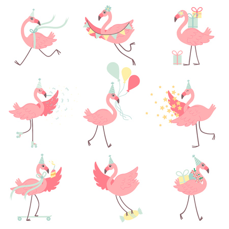 Cute Pink Flamingos in Party Hats Set, Beautiful Exotic Birds Characters With Gift Boxes and Colorful Balloons, Happy Birthday Vector Illustration on White Background. Ilustracja