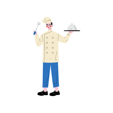 Male Chef Holding Platter Cloche and Fork, Hotel Staff Character in Uniform Vector Illustration on White Background. 일러스트