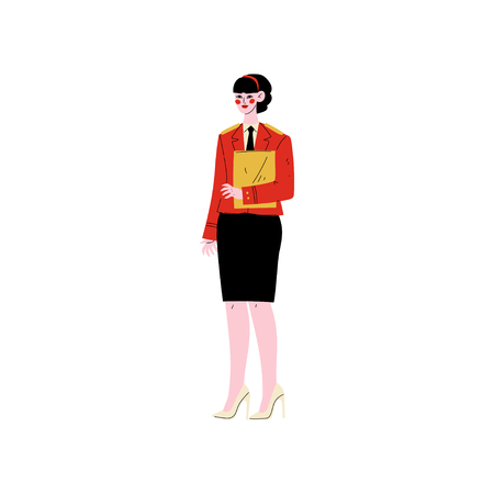Female Hotel Manager Standing with Clipboard, Hotel Staff Character in Red Uniform Vector Illustration on White Background.