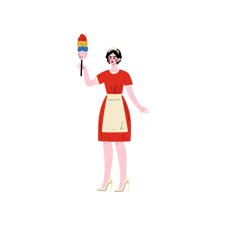 Cheerful Maid Standing with Dust Brush, Hotel Staff Character in Red Uniform Vector Illustration on White Background. Zdjęcie Seryjne - 124779028