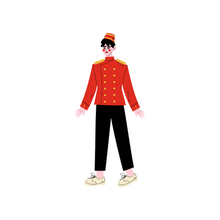 Concierge or Porter, Hotel Staff Character in Red Uniform Vector Illustration