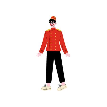 Concierge ou bagagiste, caractère du personnel de l'hôtel en illustration vectorielle uniforme rouge