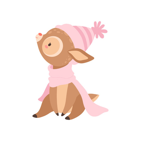 Cute Baby Deer Wearing Pink Knitted Hat And Scarf, Adorable Forest Fawn Animal Vector Illustration on White Background. Ilustrace