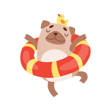 Cute Pug Dog with Lifebuoy, Funny Friendly Animal Pet Character Relaxing Vector Illustration Illustration