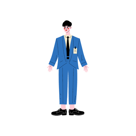 Male Hotel Manager or Administrator, Hotel Staff Character in Blue Uniform Vector Illustration on White Background. Archivio Fotografico - 124779031