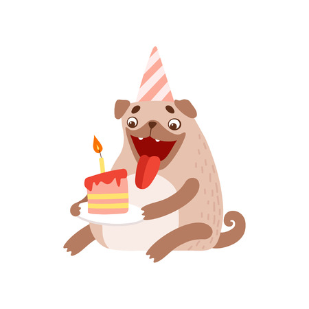 Cute Pug Dog in Party Hat with Birthday Cake, Happy Friendly Animal Pet Character Vector Illustration
