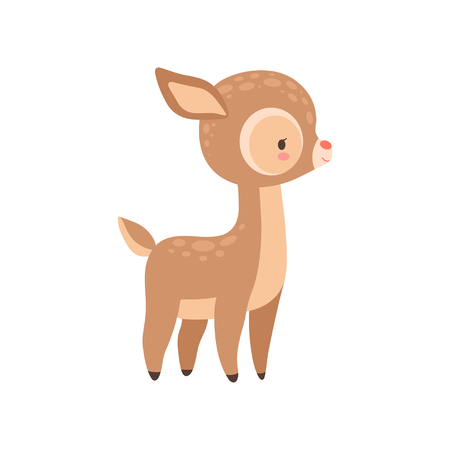 Cute Baby Deer, Adorable Forest Fawn Animal Vector Illustration on White Background.