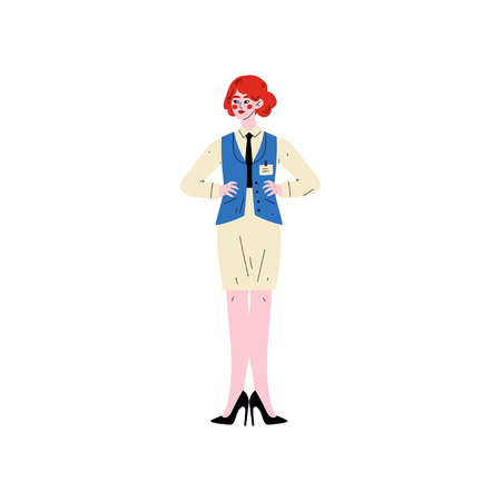 Cheerful Female Hotel Manager, Hotel Staff Character in Uniform Vector Illustration