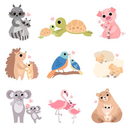 Cute Animal Families Set, Raccoon, Turtle, Pig, Hedgehog, Bird, Sheep, Koala Flamingo Bear Vector Illustration on White Background  イラスト・ベクター素材