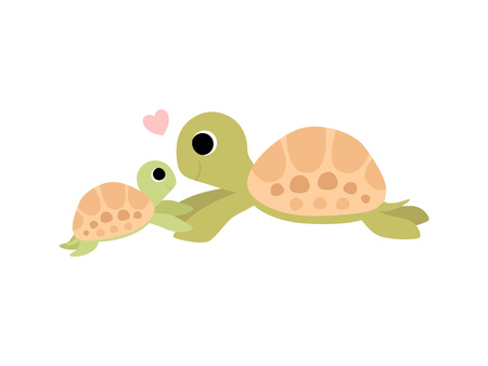 Mother Tortoise and Its Baby, Cute Turtles Family Vector Illustration Illustration