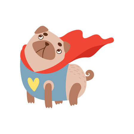 Cute Pug Dog in Superhero Costume, Funny Friendly Animal Pet Character Vector Illustration