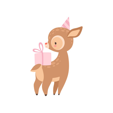 Cute Baby Deer with Pink Gift Box, Adorable Forest Fawn Animal Vector Illustration on White Background.