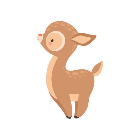 Cute Baby Deer, Adorable Forest Fawn Animal side View Vector Illustration on White Background.