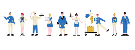 Personnages du personnel de l'hôtel en uniforme bleu, directeur, femme de chambre, serveuse, chef, groom, réceptionniste, concierge, portier Illustration vectorielle sur fond blanc