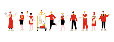 Hotel Staff Characters Set, Chef, Manager, Maid, Bellhop, Receptionist, Concierge, Waitress, Doorman in Red Uniform Vector Illustration on White Background 스톡 콘텐츠 - 124779045
