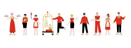 Zestaw znaków personelu hotelu, szef kuchni, kierownik, pokojówka, goniec hotelowy, recepcjonista, konsjerż, kelnerka, odźwierny w czerwonym mundurze wektor ilustracja na białym tle Ilustracje wektorowe