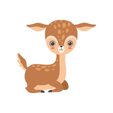 Entzückende Baby-Rotwild-Waldkitz-Tier-Vektor-Illustration auf weißem Hintergrund.